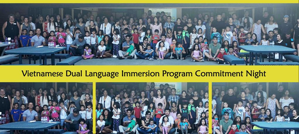 Vietnamese Dual Language Immersion Program Commitment Night attendees