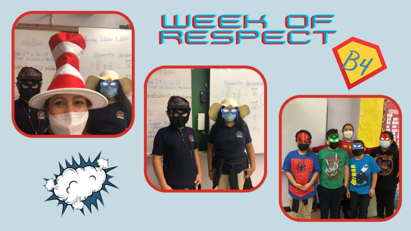 Students in superhero masks and shirts collage
