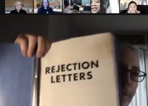Dan Gutman in zoom spotlight showing binder of rejection letters