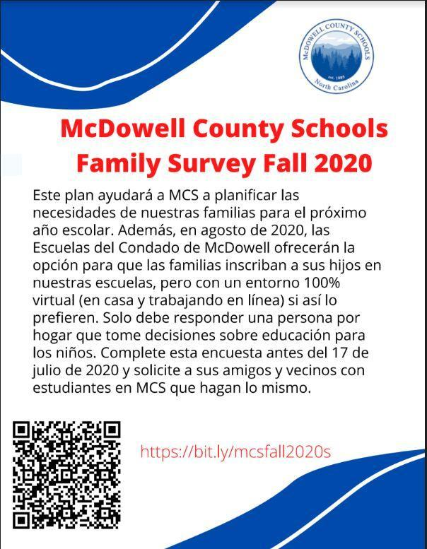 McDowell County Schools Family Survey Fall 2020  - Spanish