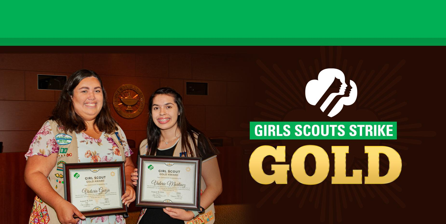 Photo of Girl Scouts in HCISD board room