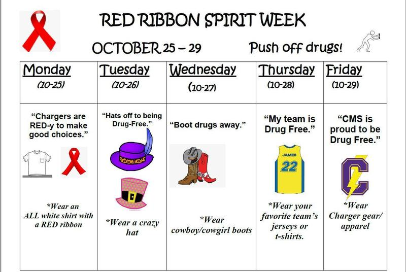 The following dates are designated for the dress up days during Red Ribbon Week from October 25th to October 29th. Please remember to adhere to Tipton County Schools dress code policy when considering your dress wardrobe for each designated day.
