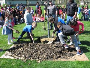 Students plant during Arbor Day Celebration