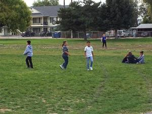 Students playing outside for an extra recess.