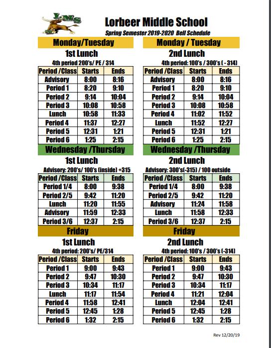 Spring Bell Schedule