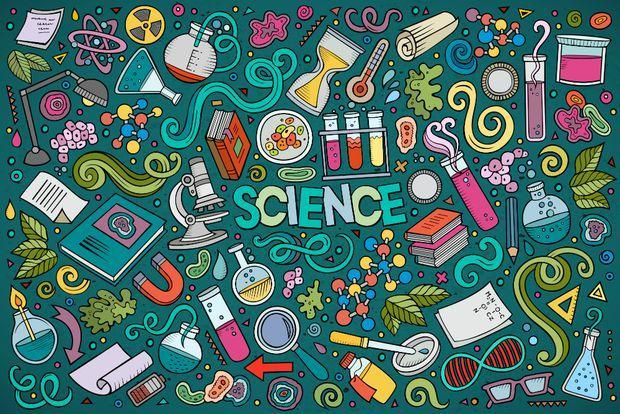 The word 'Science' surrounded by various scientific tools and images