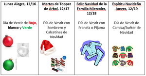 rocky hill december spirit dress up days- Spanish