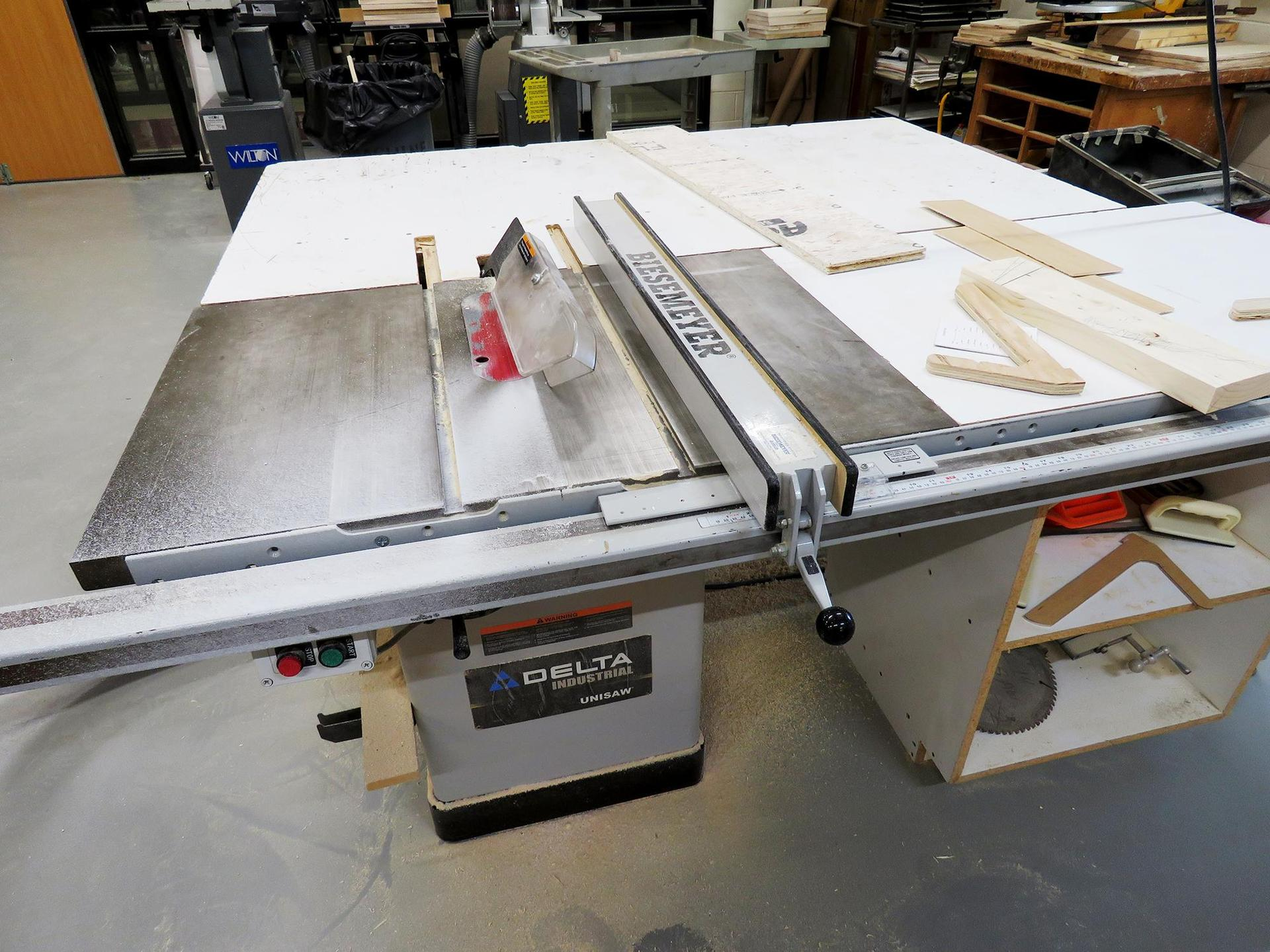 A work table in the EHS carpentry workspace