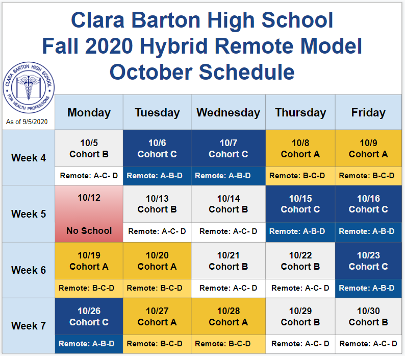 October 2020 Hybrid Schedule