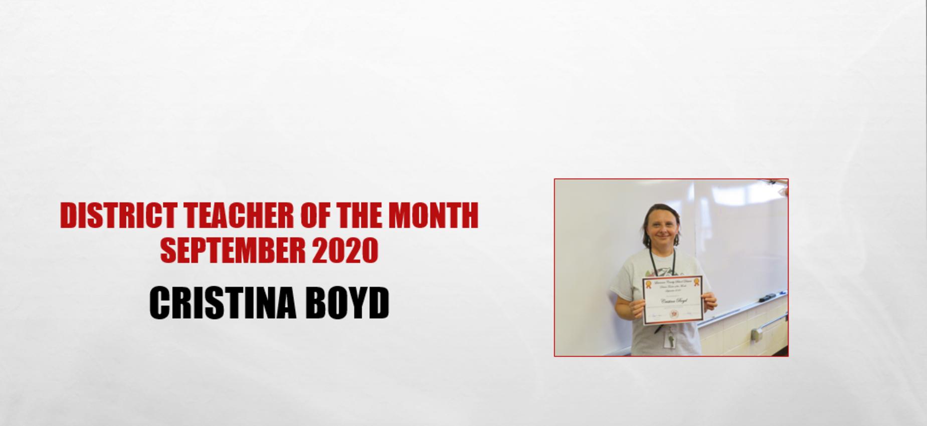 Cristina Boyd Teacher of the Month September 2020