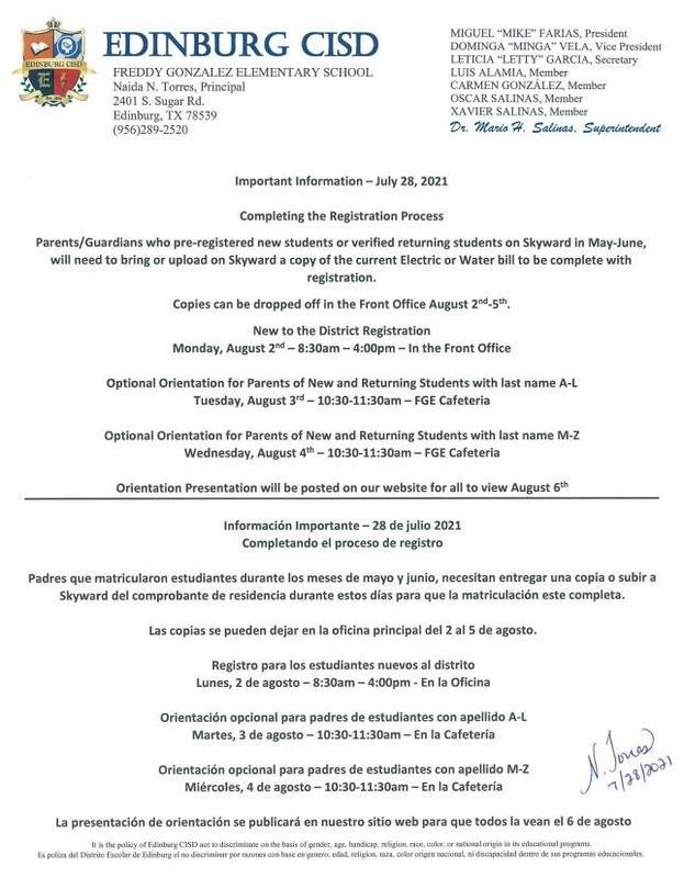 Important Information for Parents 7-28-2021