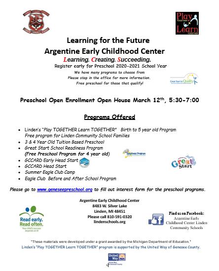 Preschool Open House & Enrollment 2020-2021 School Year Thumbnail Image