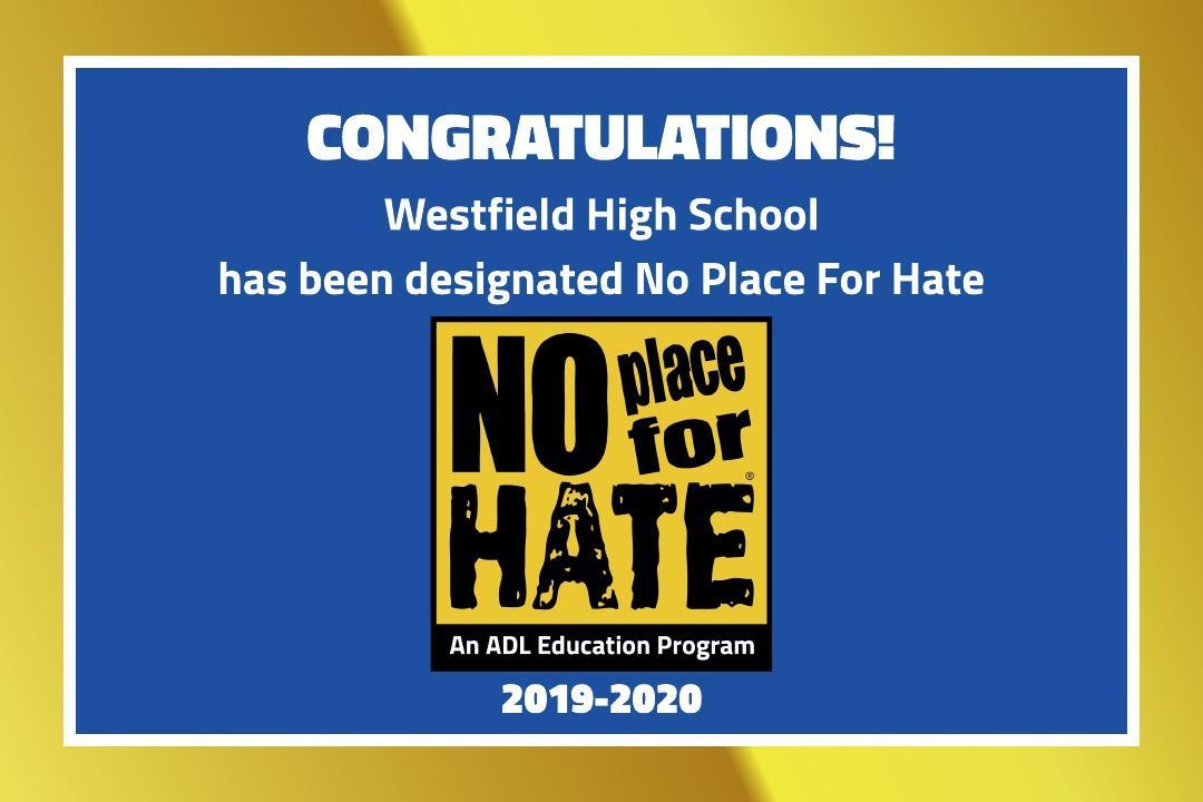 Graphic showing No Place for Hate designation for 2019-2020