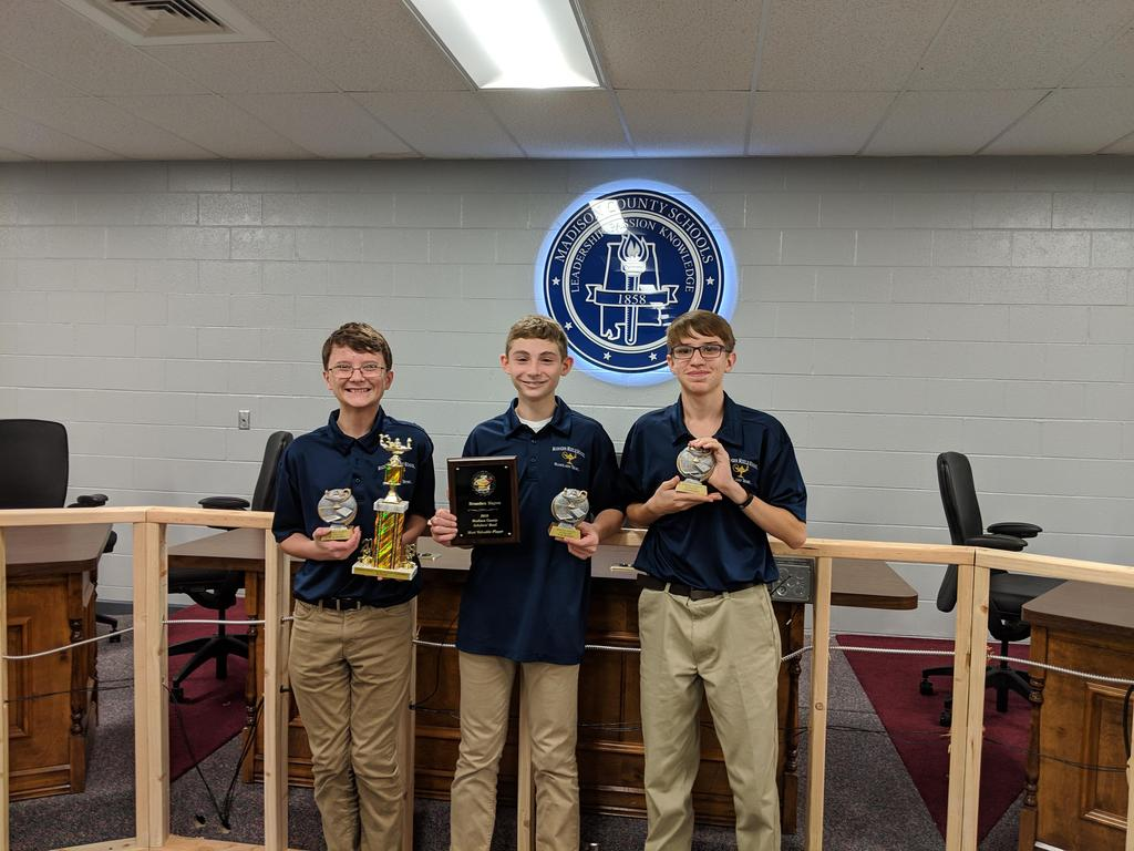Last Friday, November 30th, our Scholar's Bowl team placed 3rd in the Madison County Tournament. Wesley Stanley, Andrew Lewis, and Braeden Hayes placed in the Top 10 for toss-ups this season, with Braeden placing #1!