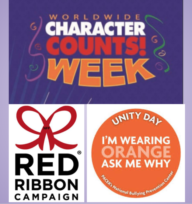 Character Counts Week, Red Ribbon Week, and Unity Day