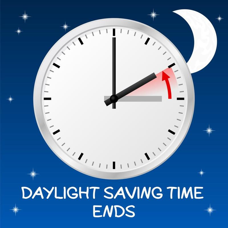 Daylight Saving Time Ends Sunday, November 4, 2 a.m., set clocks BACK one hour.