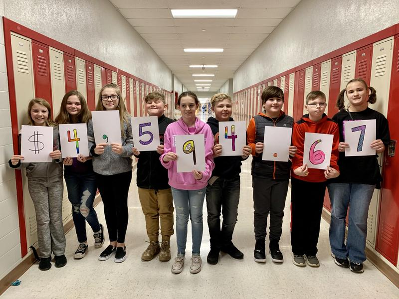 Students holding signs $4,594.67