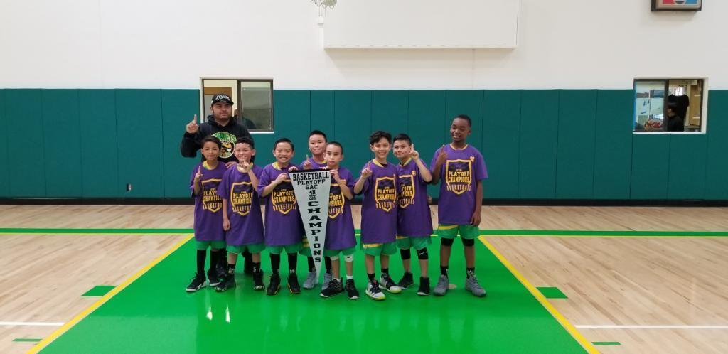 Our 4th grade basketball team are the 1st place champions.