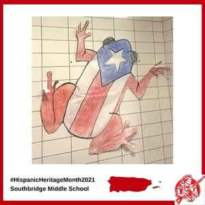 Student artwork in the hallway at Southbridge Middle School to celebrate Hispanic Heritage Month