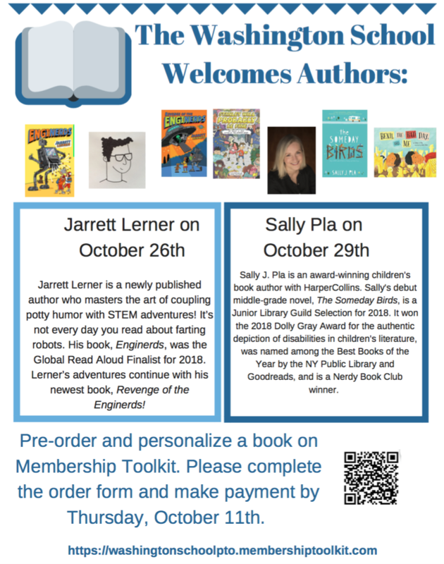 Flyer that advertises visits for authors Jarrett Lerner and Sally Pla and stating book orders are due Thursday October 11th.