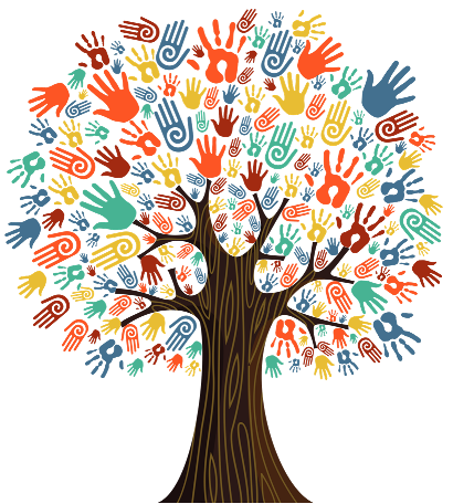 picture of hands making a tree