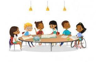 Six students sitting around a table.