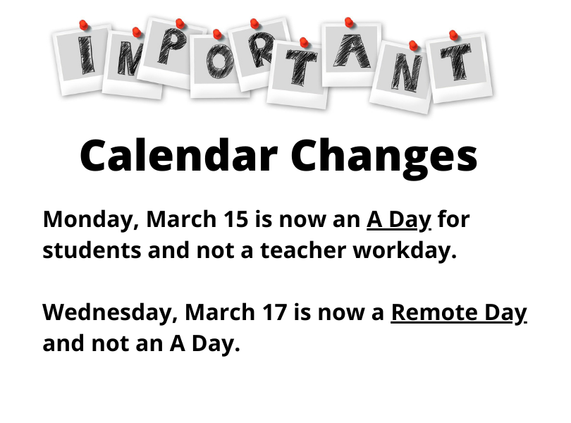 March Calendar Changes