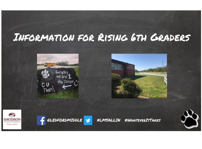 Information for rising 6th Grade Students