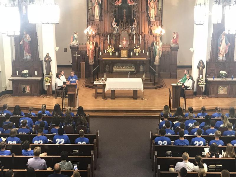 photo of OLSH chapel on Freshman Foundations Day 2018