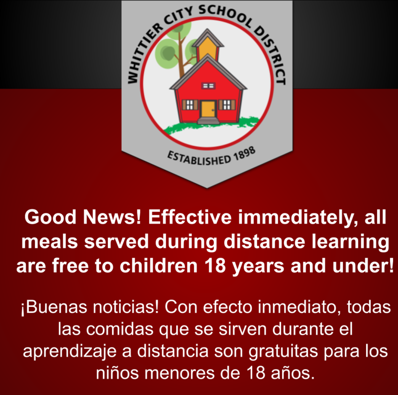 Update ! Free Meals for children 18 years and under