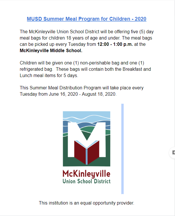 Summer Meal Program Information