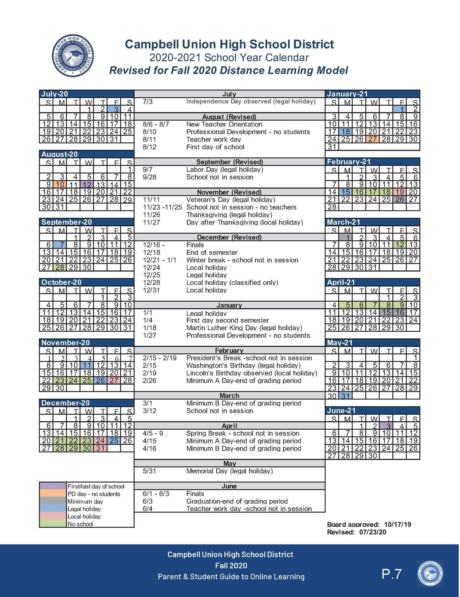 image of 2020-21 CUHSD academic calendar