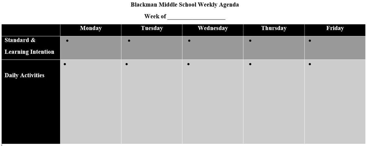 Example of weekly agenda