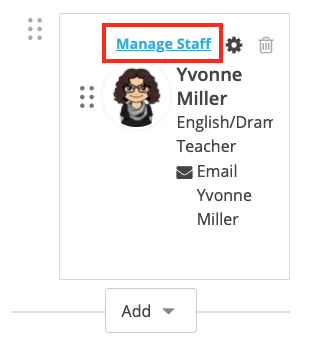 Screenshot of a staff member with Manage Staff selected