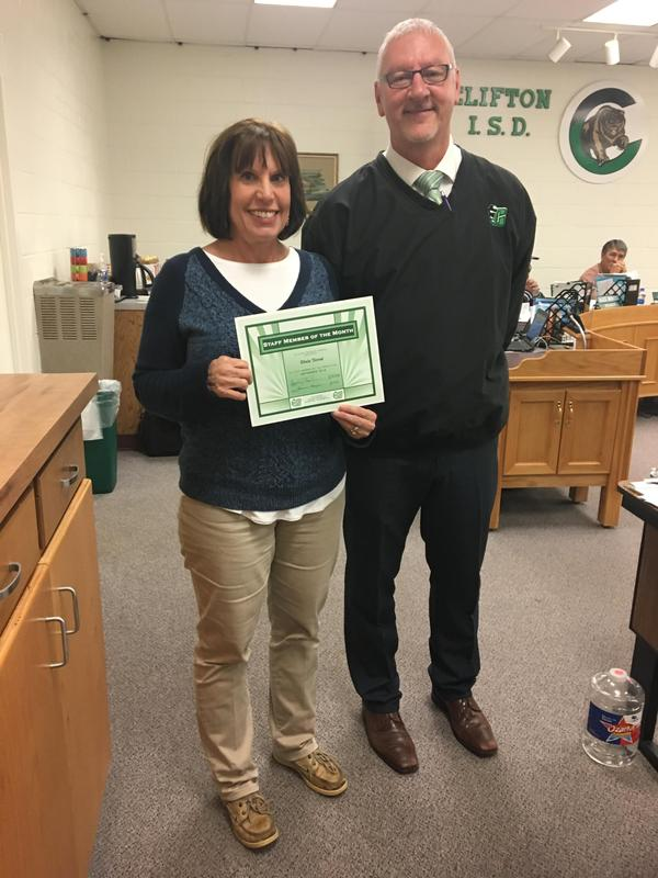 October staff member of the month Dixie Terral