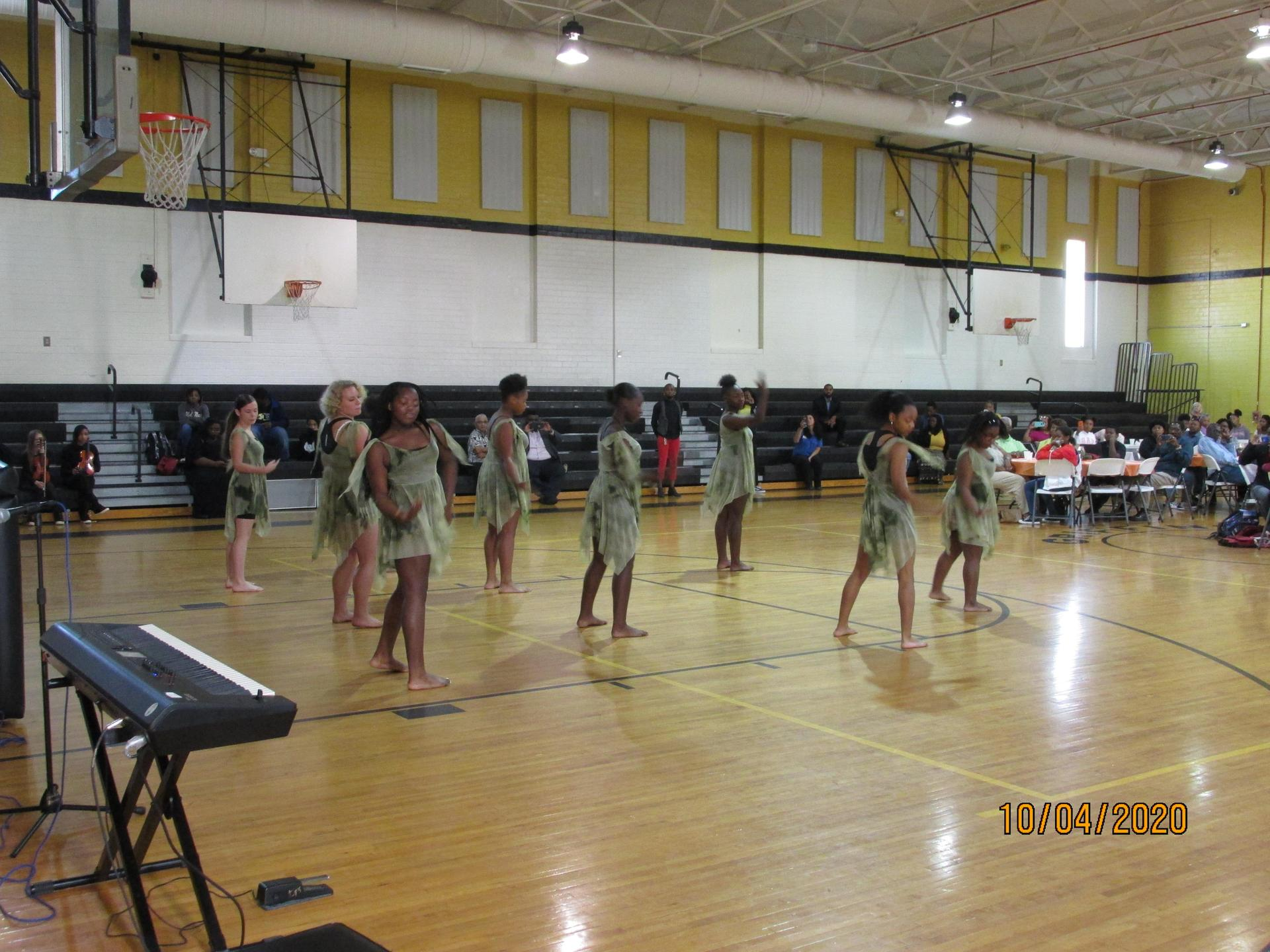 Middle school dancers performing