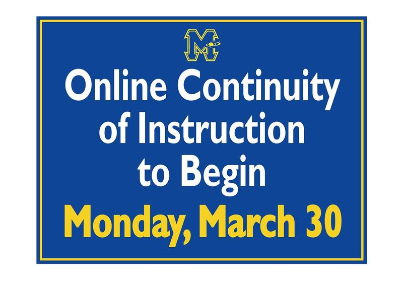 Online Continuity of Instruction to Begin Monday, March 30