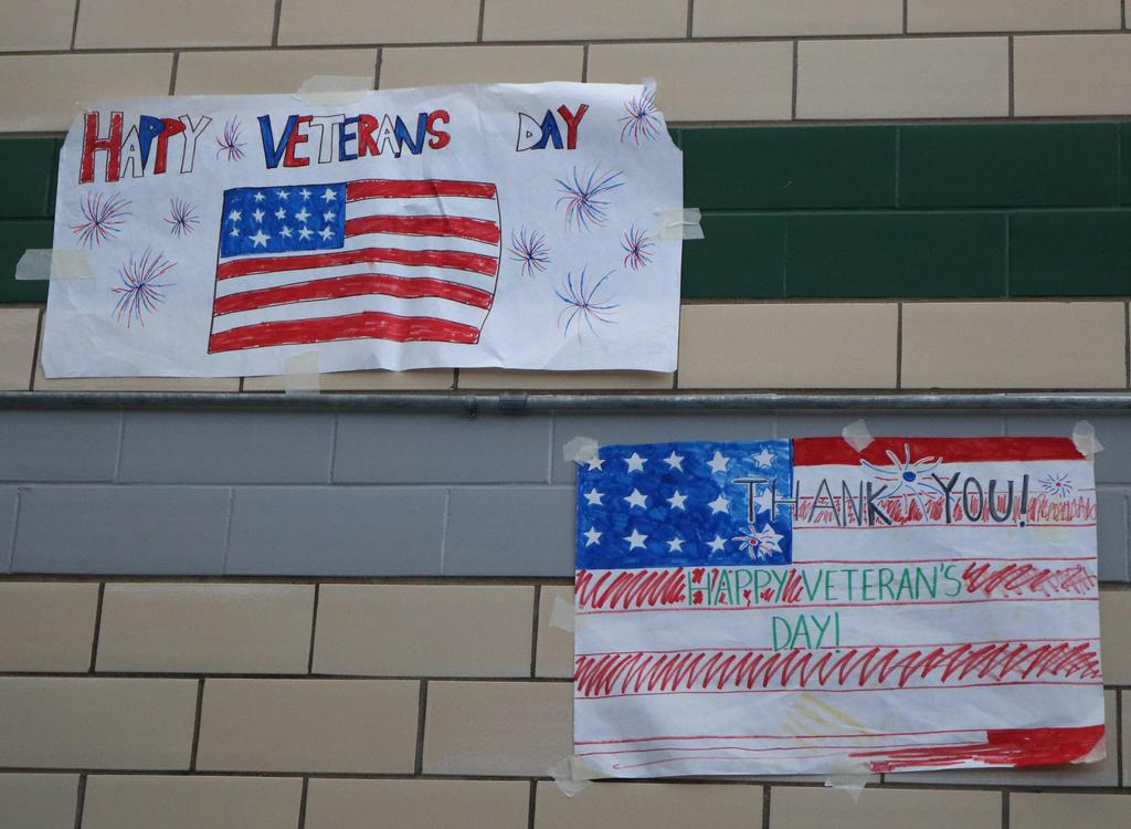 Photo of Veterans Day signs