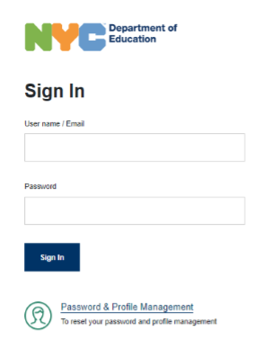 Sign In With DOE username and password