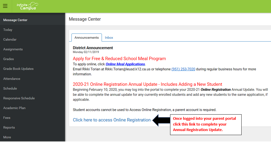 Screenshot of IC Parent Portal 2020.