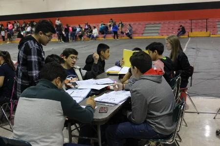 MJHS students taking a break during a UIL meet.