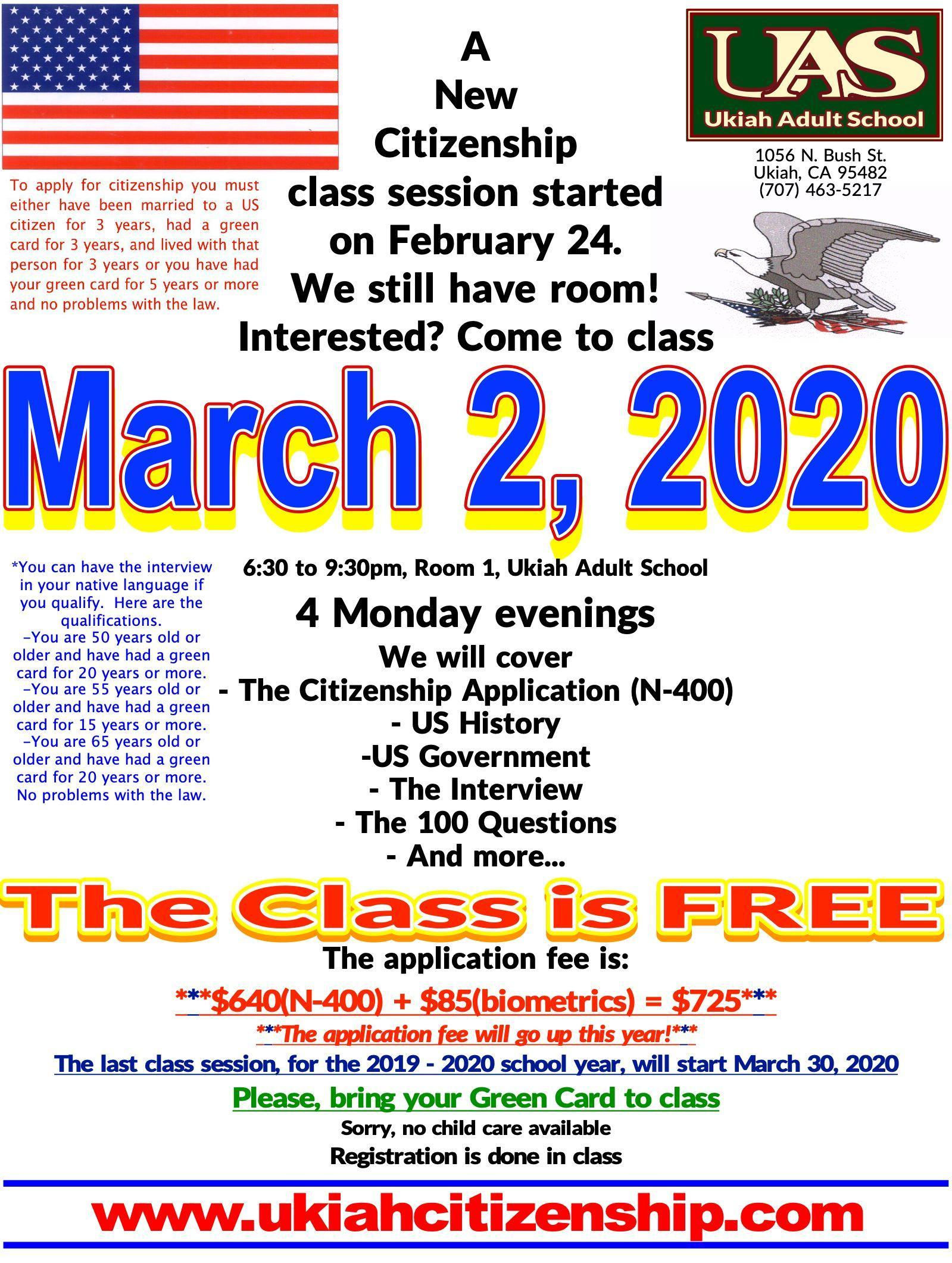 Poster annoucing the fact that the current class session starrted on 02/24/2020 and that there is still room so if interested come to class on 03/02/2020