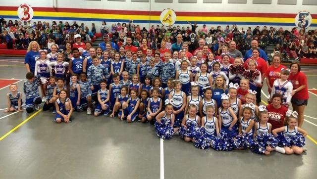 Waterville Basketball teams and cheerleaders