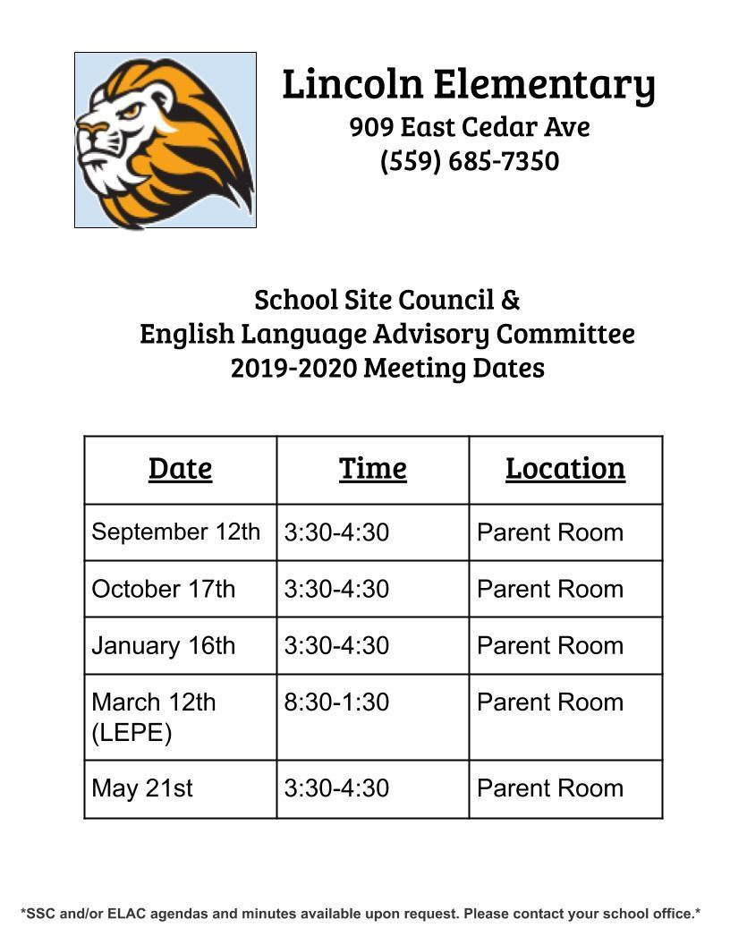 SSC/ELAC 2019-2020 Meeting Dates