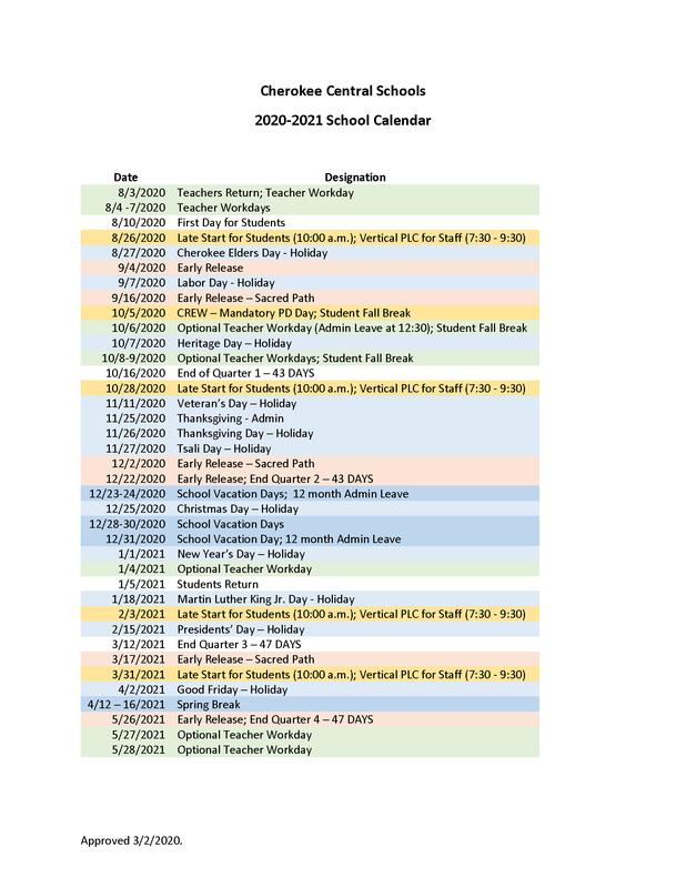 2020-2021 CCS School Calendar