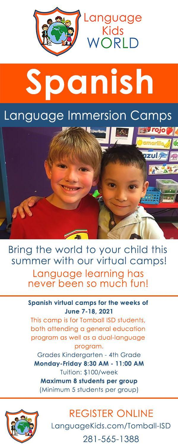 Spanish Language Immersion Summer Camp Flyer 2021