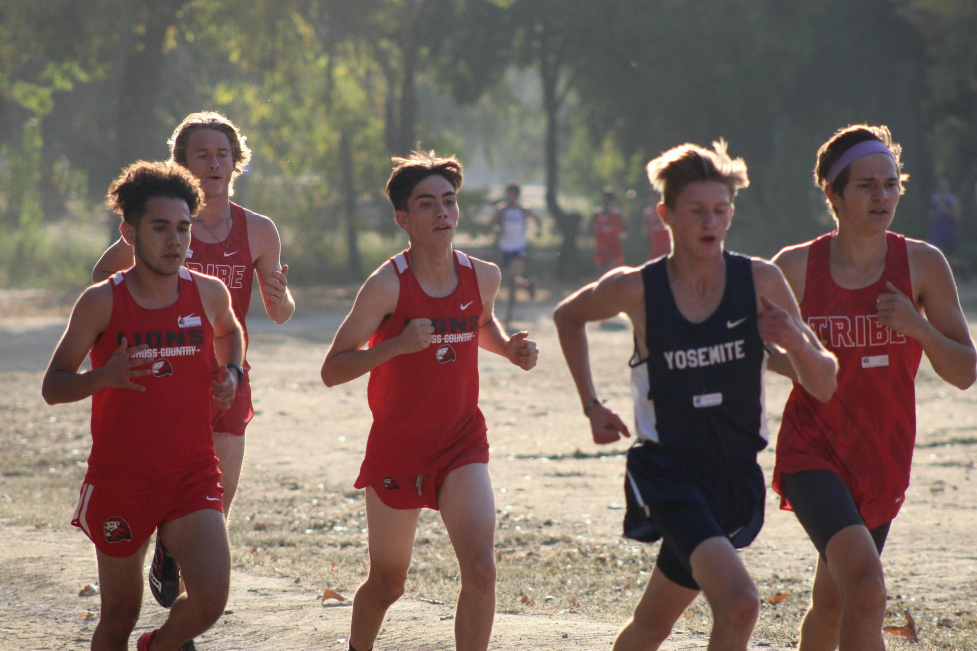 Varsity boys running at the NSL Cross Country Championships.