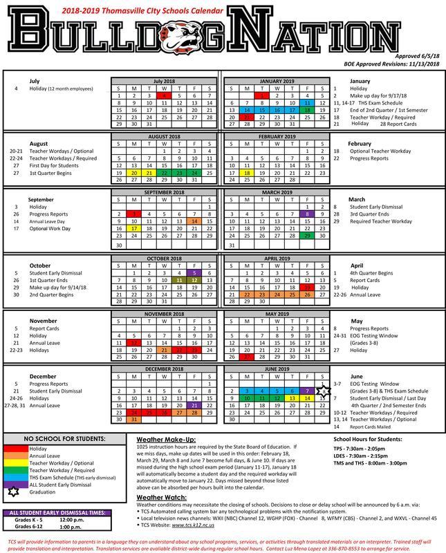 Update 2018-19 Calendar