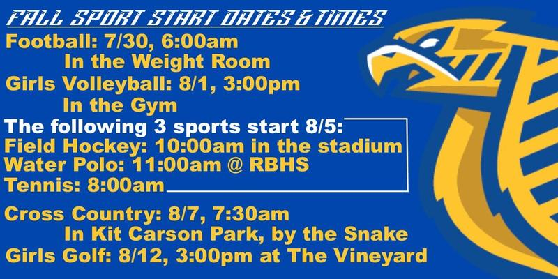 Fall Sport Start Dates & Times Thumbnail Image