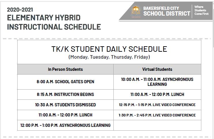 Student Learning Schedules/Horarios de aprendizaje de los estudiantes